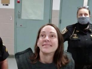 A smiling Kimberly Kessler talked to Judge James Daniel via Zoom videoconferencing at a hearing Thursday, asking him for a new lawyer. Daniel denied the request and also declared Kessler mentally competent to stand trial. Kessler is accused of murdering Joleen Cummings. Jury selection for the trial could start next May.  Photo courtesy Nassau County Sheriff's Office