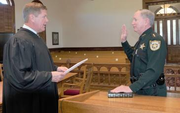 Sheriff Bill Leeper swears in for a third term in office Jan. 5, with Judge Steven Fahlgren administering the oath. His term runs until Jan. 6, 2025.