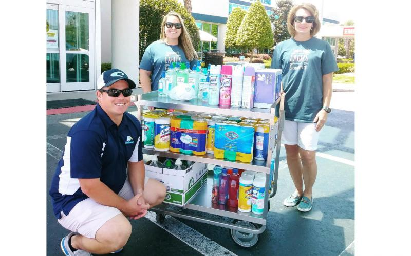 Sugarmill Elementary donated disinfecting wipes, spray, tissue and hand sanitizer to Camden Campus. A few other local schools also made similar donations.