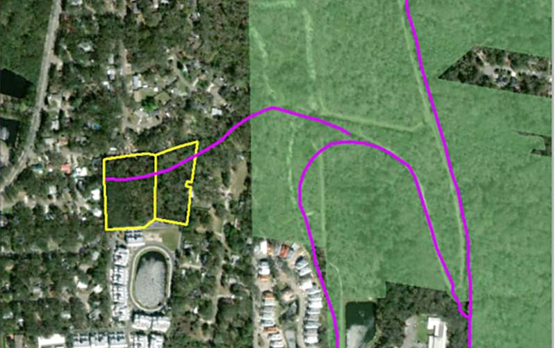 The city of Fernandina Beach is purchasing this 5.35-acre parcel of property, outlined in yellow, and putting it into conservation to prevent development on it. Commissioners noted owner Richard Keffer could have made a considerable profit on the land if it had been developed and acknowledged his efforts to work with the city to put the land in conservation. NORTH FLORIDA LAND TRUST