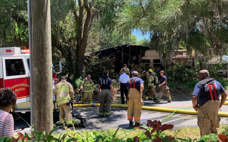 The house at 206 Citrona Drive in Fernandina Beach caught fire Tuesday.  Robert Fiege/News-Leader