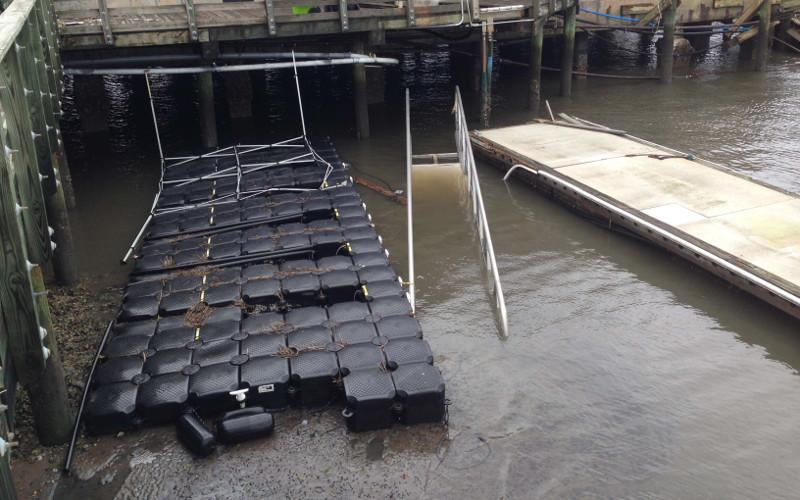 In October 2016, Hurricane Matthew caused major damage to the Fernandina Harbor Marina, much of which has been repaired. A damage assessment by Applied Technology & Management found Dock 1, a wave attenuator, was damaged beyond repair and needed to be replaced, but the Federal Emergency Management Agency is refuting that claim and wants to pay only for repairs. ROBERT FIEGE/NEWS-LEADER