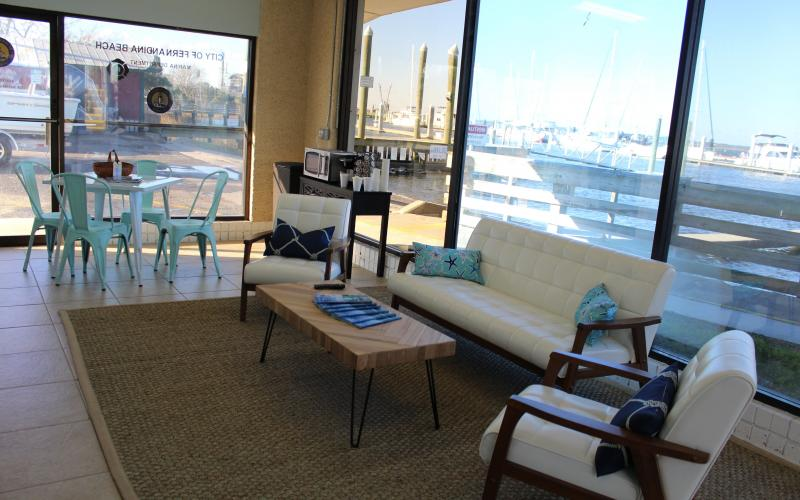 Oasis Marinas took over the Fernandina Harbor Marina in December and has since been working to improve amenities. The boaters lounge has been refurbished with new furniture and a coffee bar, where boaters can relax with a view of the south basin of the marina.