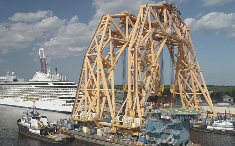 The VB-10,000, currently docked at the Port of Fernandina, is the largest twin-hull heavy lift vessel ever built in the United States, according to Versabar, which owns the huge crane. Photo courtesy Kory Klix of aerialdroneservices1.com