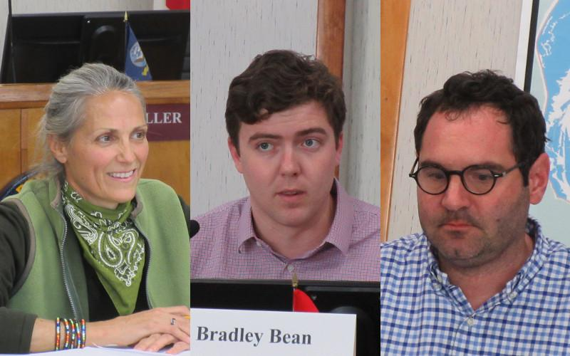 Tammi Kosack, Bradley Bean, and Benjamin Morrison are working to finalize a survey to be used by the Charter Review Committee to learn more about the interaction of city staff, charter officers, and city commissioners. JULIA ROBERTS/NEWS-LEADER
