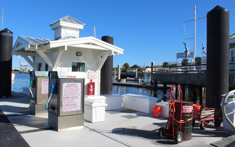 The fuel dock at the Fernandina Harbor Marina has not been operable since Hurricane Matthew damaged the marina in 2016. Taylor Fitzsimmons, the marina's new manager, hopes fuel will be available to boaters in February as Marina Utilities continues working on repairs to the dock. JULIA ROBERTS/NEWS-LEADER