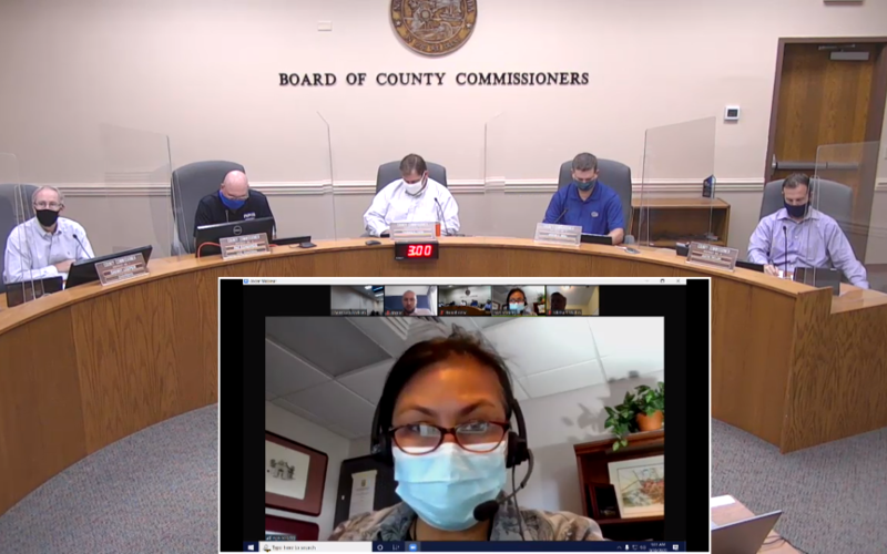 Dr. Eugenia Ngo-Seidel, the director of the Florida Department of Health-Nassau attended the Wednesday meeting of the Nassau County Board of County Commissioners via the Zoom videoconferencing application. GARY D. MORGANFOR THE NEWS-LEADER/NASSAU COUNTY
